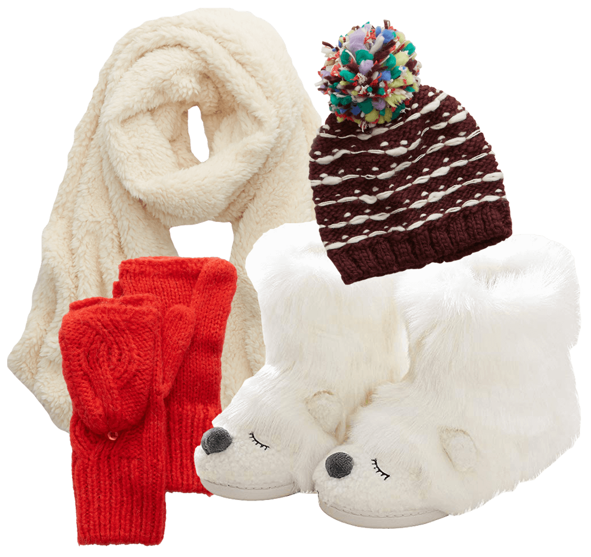 scarf, hat, mittens, slippers